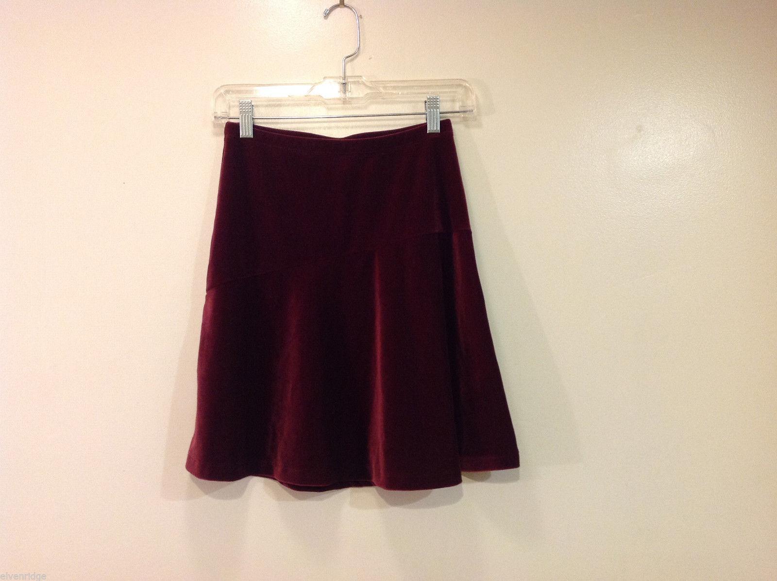 Old Navy Girls Maroon Velvet A-line Skirt, Size 14