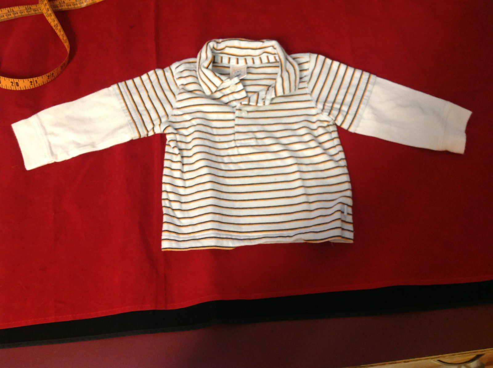 Old Navy Long Sleeve White/Light Blue/Orange Colored Shirt Size 6 to 12 Months