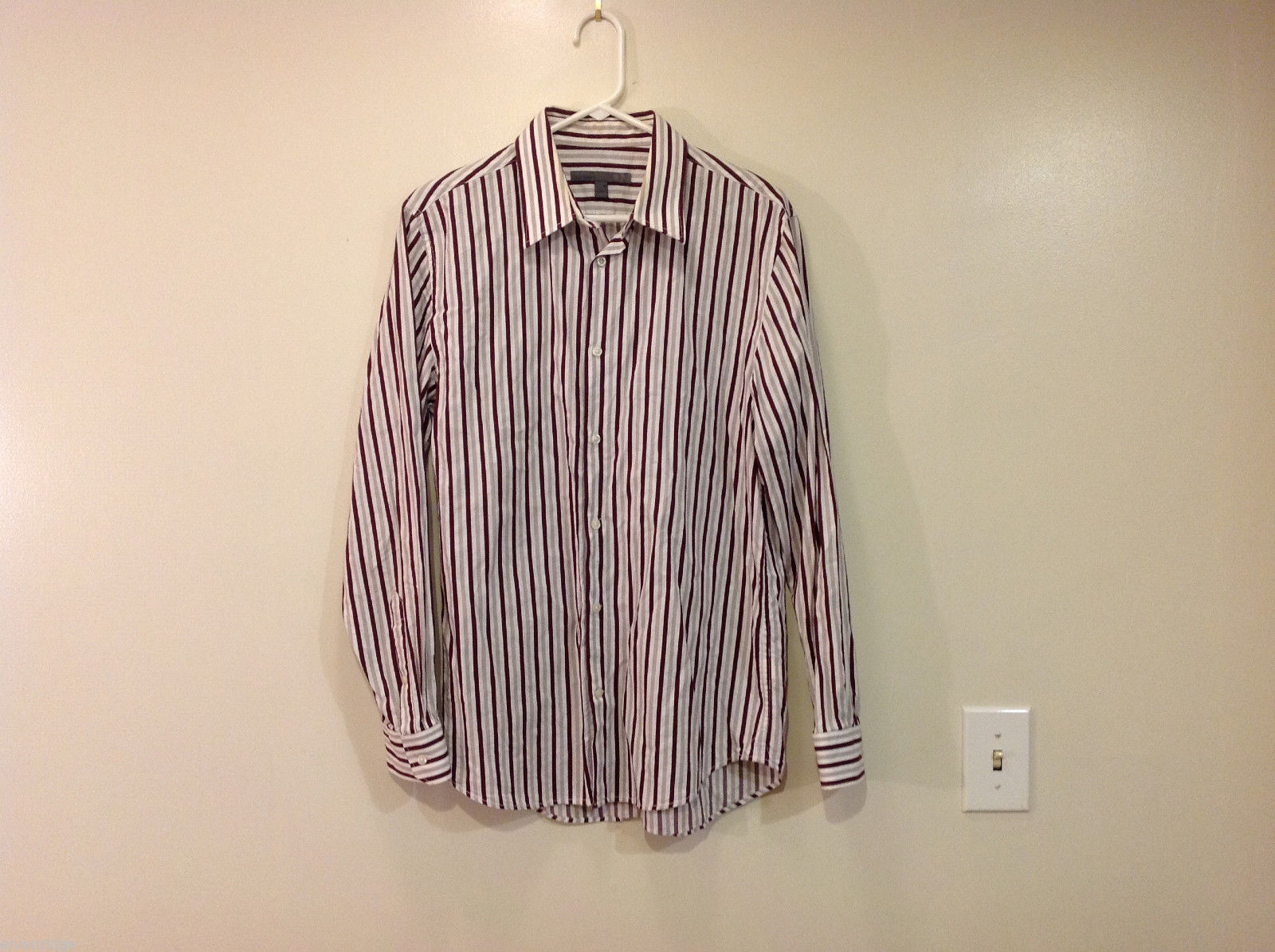 Old Navy Maroon Gray White Striped 100% cotton Shirt, Size M