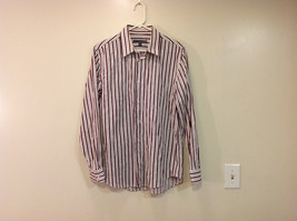 Old Navy Maroon Gray White Striped 100% cotton Shirt, Size M image 1