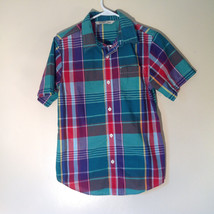 Old Navy Button Down Plaid Short Sleeve Shirt Collar Pocket Size XL