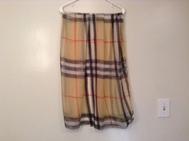 Light Tan Black Red Plaid Scarf 100 Percent Polyester NEW image 3