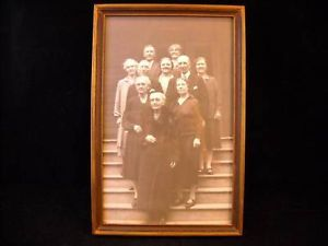 Old Photo of Group Family Portrait on Staircase B and W
