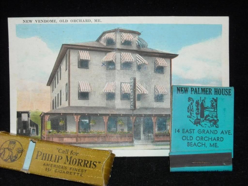 Old Orchard Maine postcard Philip Morris matchbox