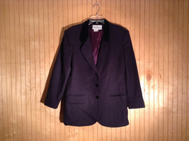 Oleg Cassini Dark Navy Blazer with Purple Nylon Lining No Size Tag