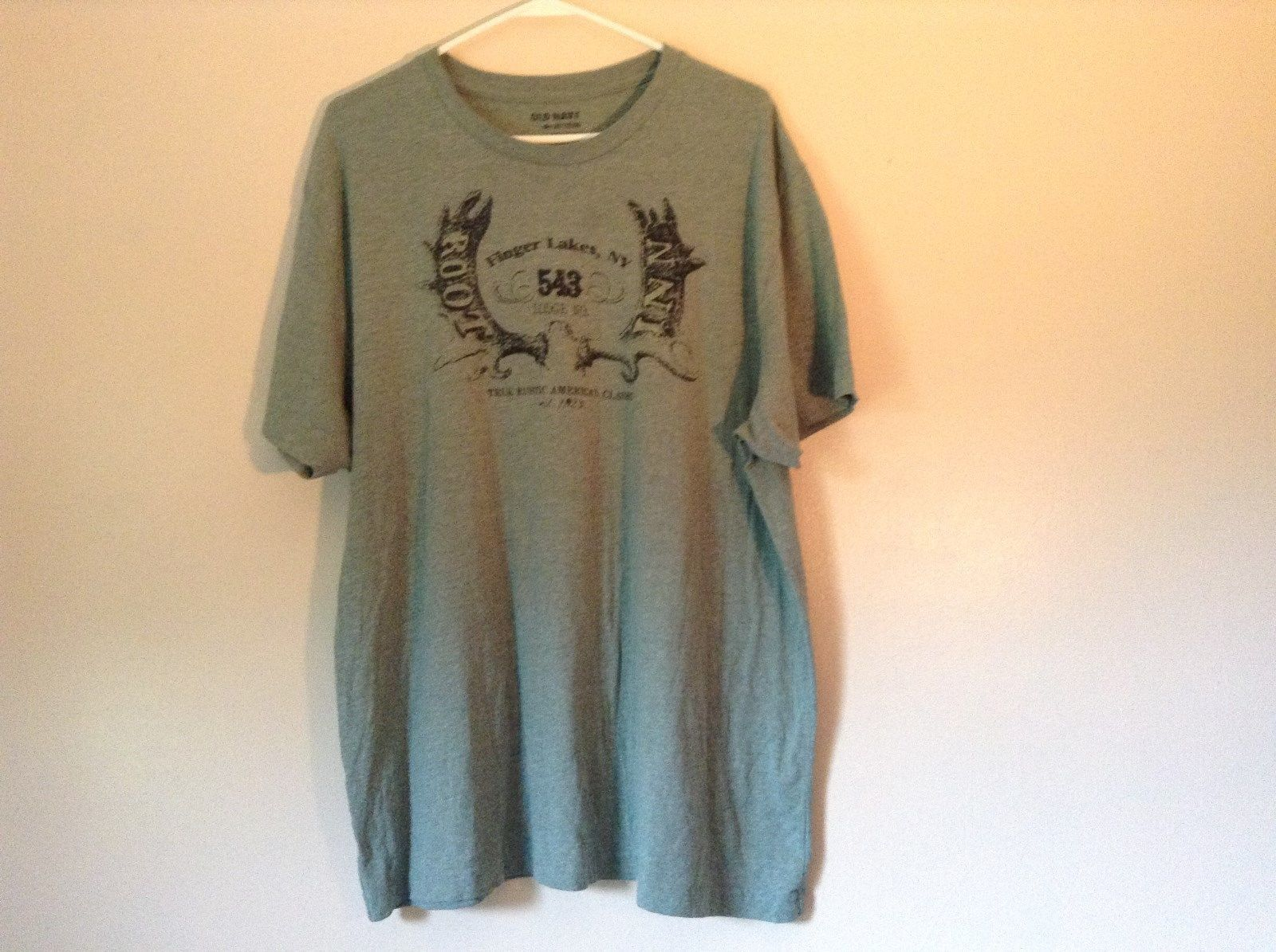 Old Navy Green T Shirt Finger Lakes NY on Front with Graphics Stretchy Size XXL