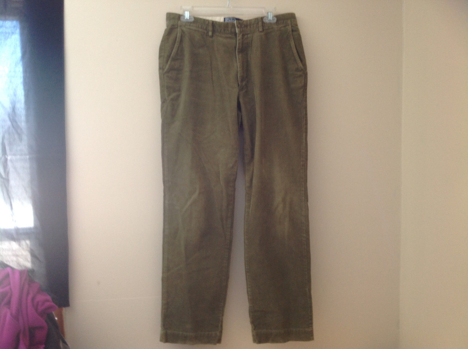 Olive Green Corduroy Ralph Lauren 4 Pocket Pants Button Zipper Closure Size 32