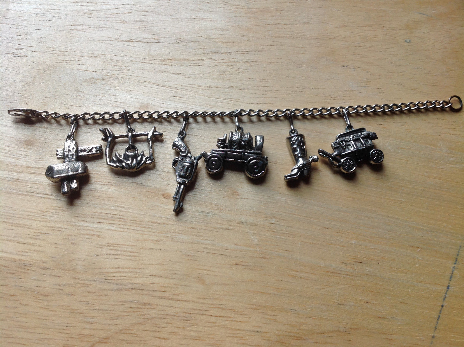 Old West Themed Charm Silver Bracelet Pressure Moving Closure Charms List Below