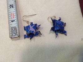 New w tags origami  blue and gold gilt  turtle earrings w gold wires washi paper image 4