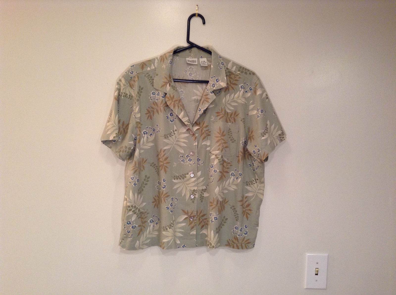 Olive Green with Flowers and Leaf Pattern Classic Elements Shirt Size XL 18