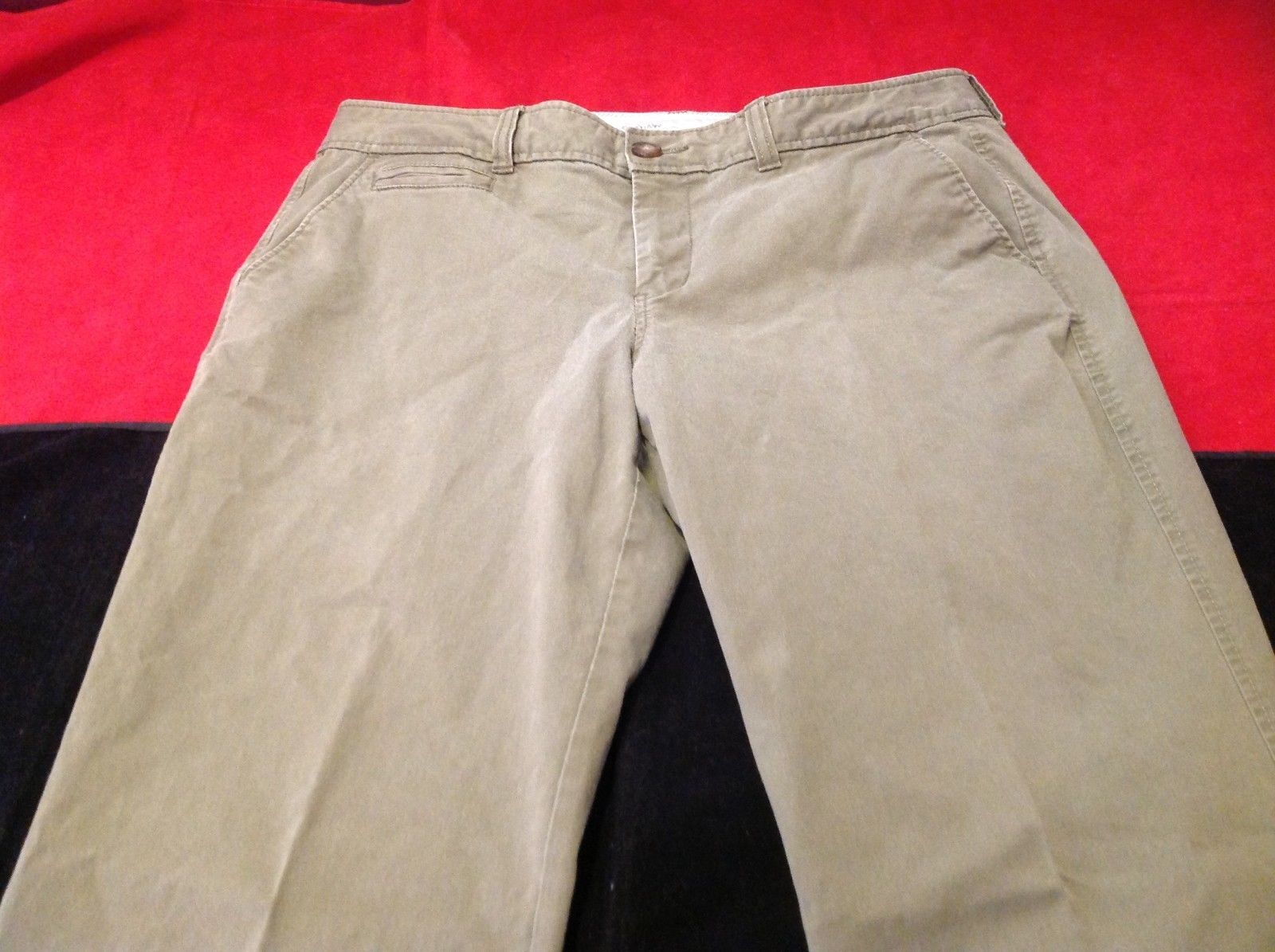 Old Navy olive long denim pants size 8 petite 16 inch wide 37 inch long