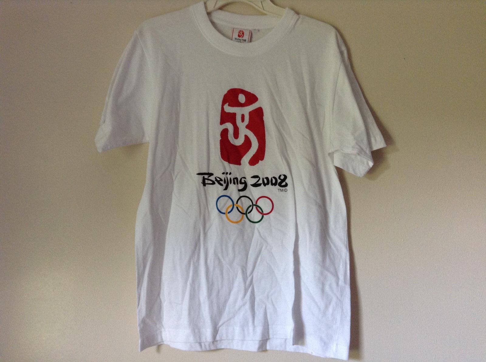 Olympics Beijing 2008 On Front White Short Sleeve T Short Plain Back Size Medium