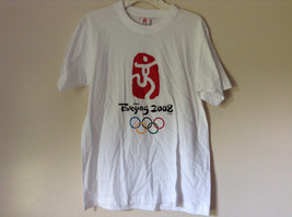 Olympics Beijing 2008 On Front White Short Sleeve T Short Plain Back Size Medium
