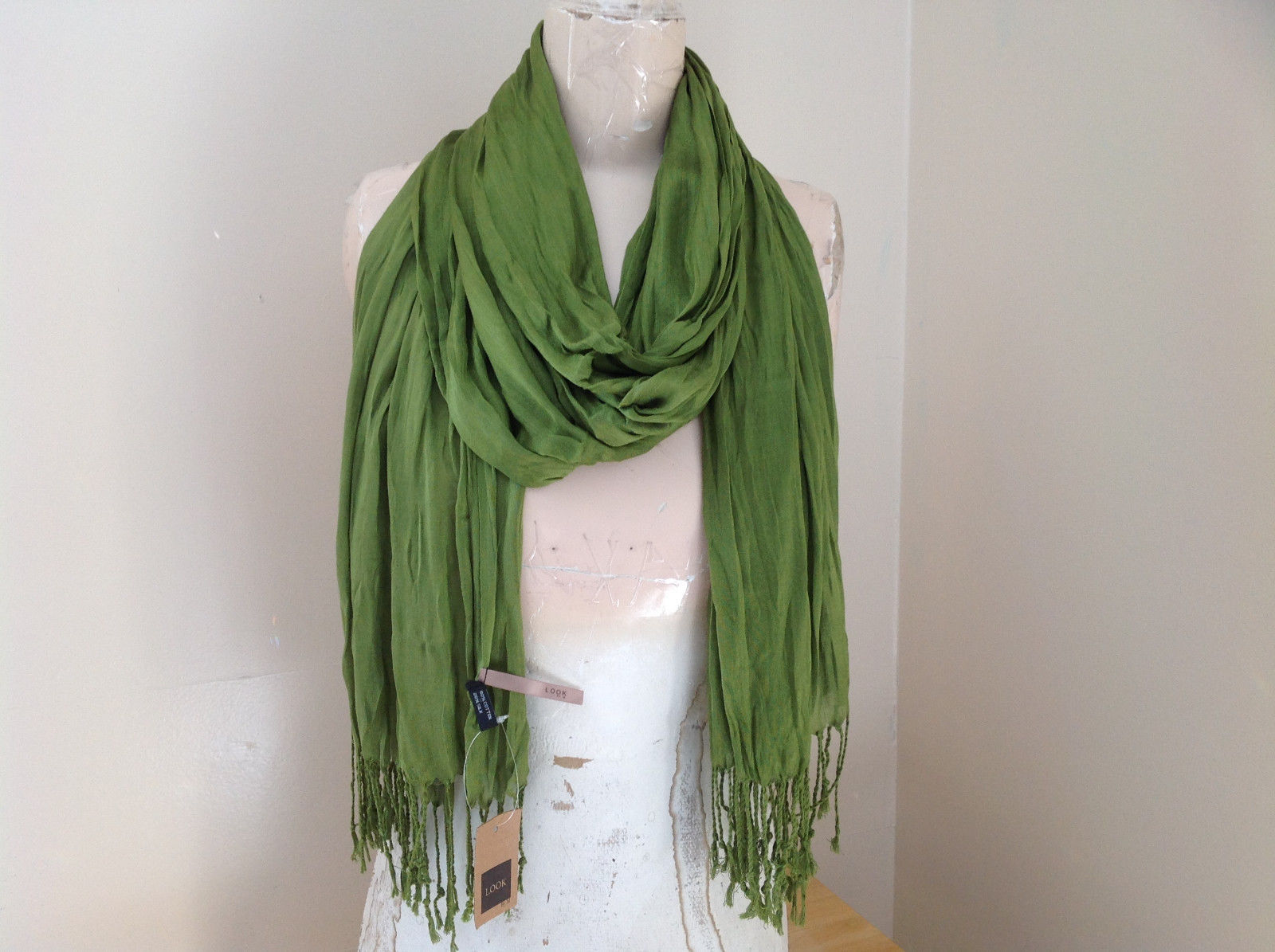 Olive Green Scrunch Style Silk Cotton Scarf with Tassels TAG ATTACHED by Look