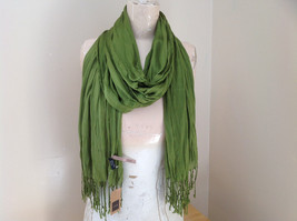 Olive Green Scrunch Style Silk Cotton Scarf with Tassels TAG ATTACHED by Look image 1