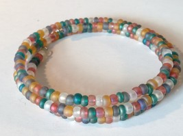 Opaque Beaded Coil Bracelet Multicolored Beads Adjustable Size