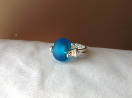 Opaque Blue Bead Silver Ring Size 4.75 by Beadit