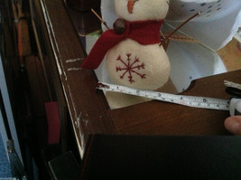 New puffy white snowman ornament with stitched snowflake scarf and stick arms image 3