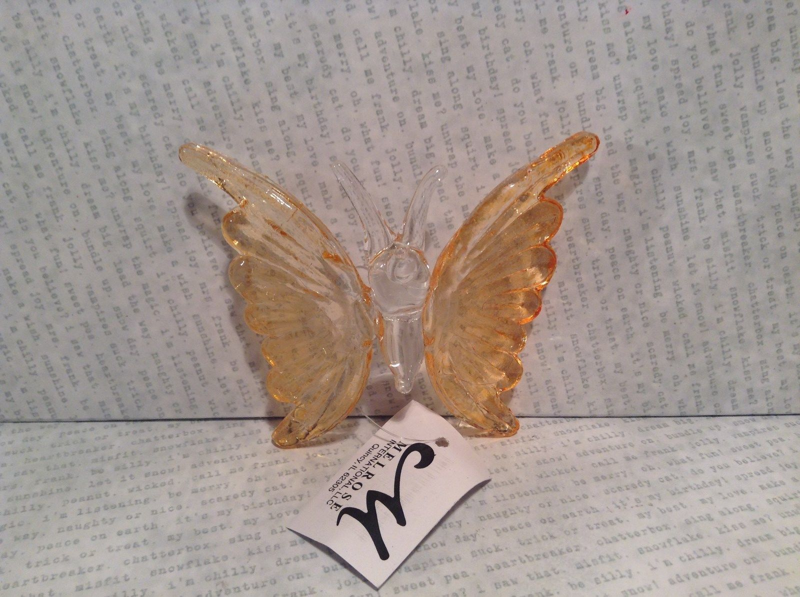 Orange Butterfly Ornament 3 Inches Long 100 percent glass