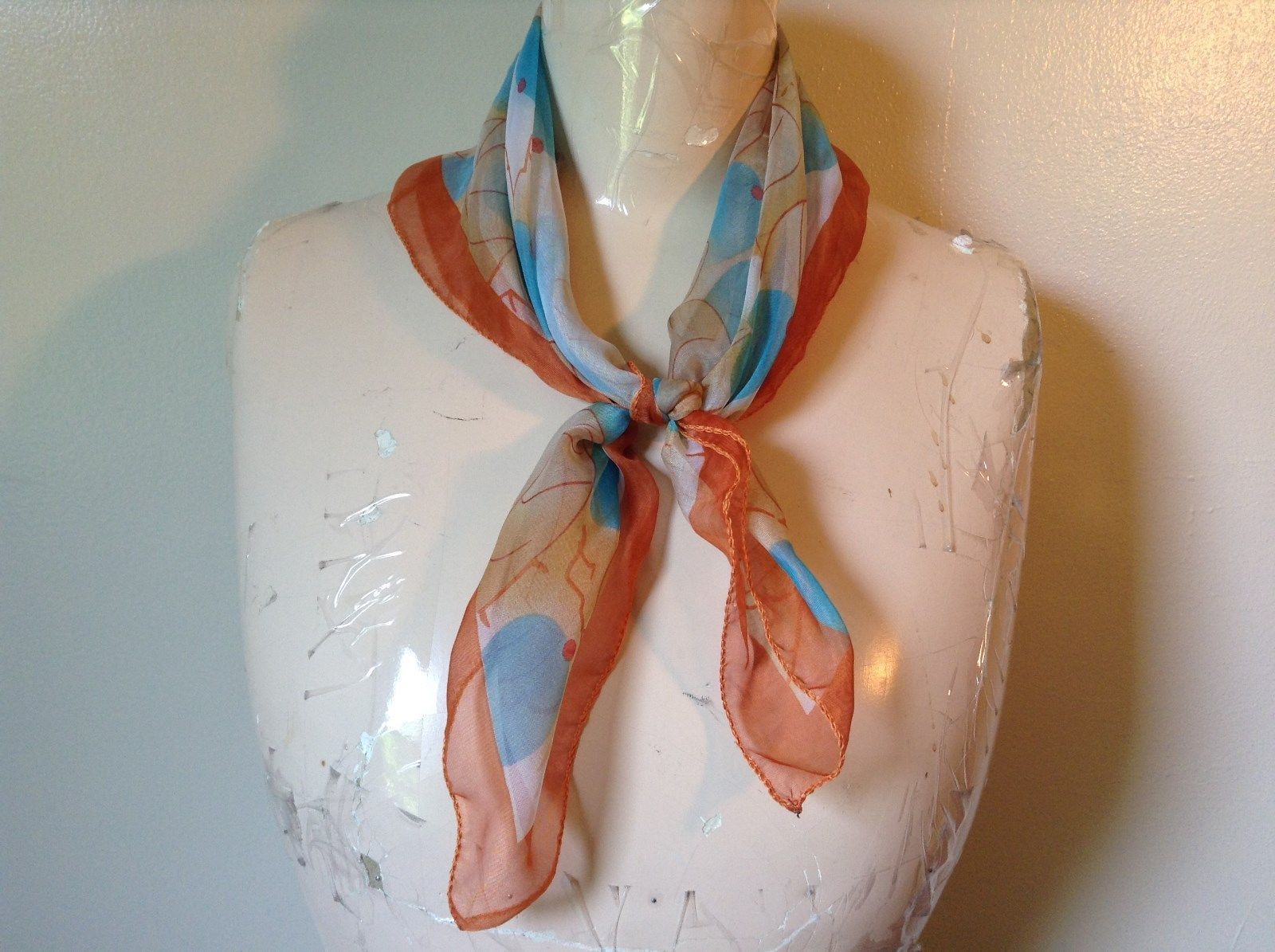 Orange Border Square Sheer Material Scarf Leaves Large Blueberries Branches