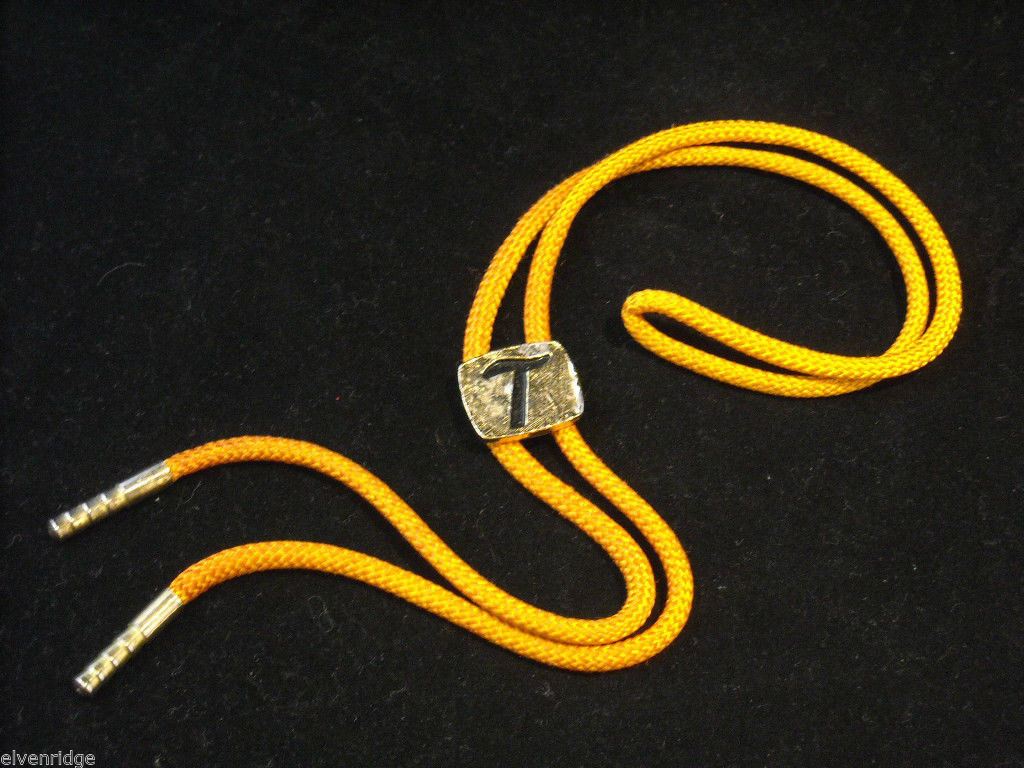 "Orange Bolo Tie with ""T"" on the clasp"