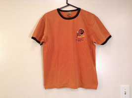 Orange Brown with Black Trim Short Sleeve T Shirt Turkey Embroidered Size Medium