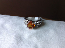 Orange CZ Stone with Cutout Design Stainless Steel Ring Size 9