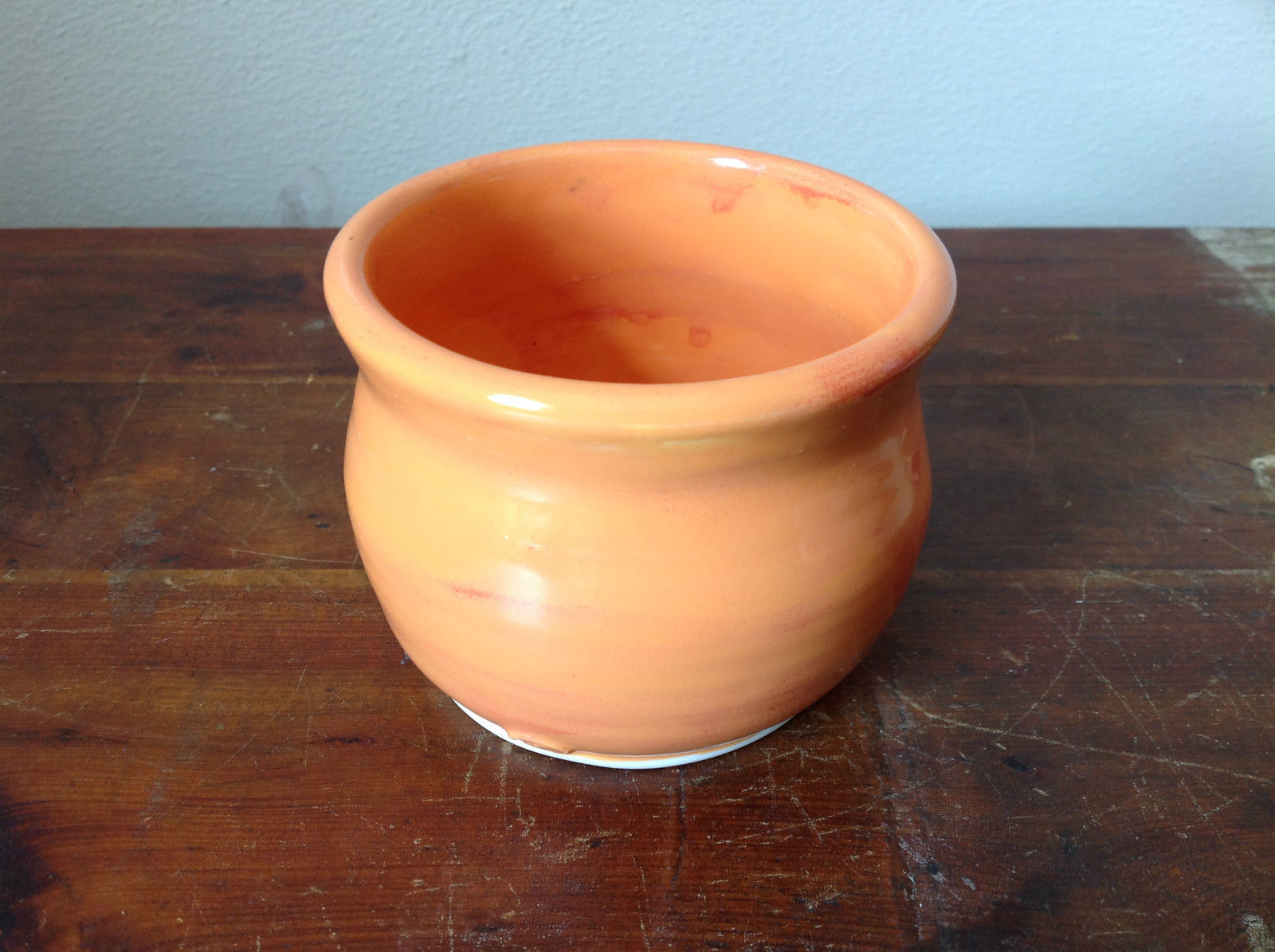 Orange Hand Crafted Artisan Ceramic Vase Jar Bowl Crock 2007