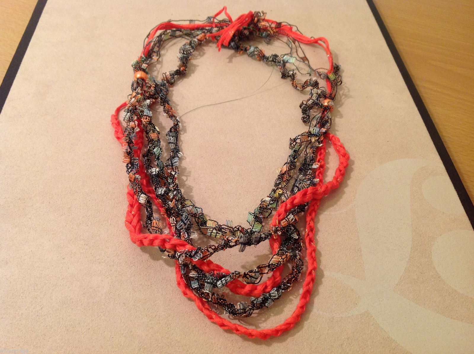 Orange Multicolored Knit Fabric Head Band or Necklace with orange beads