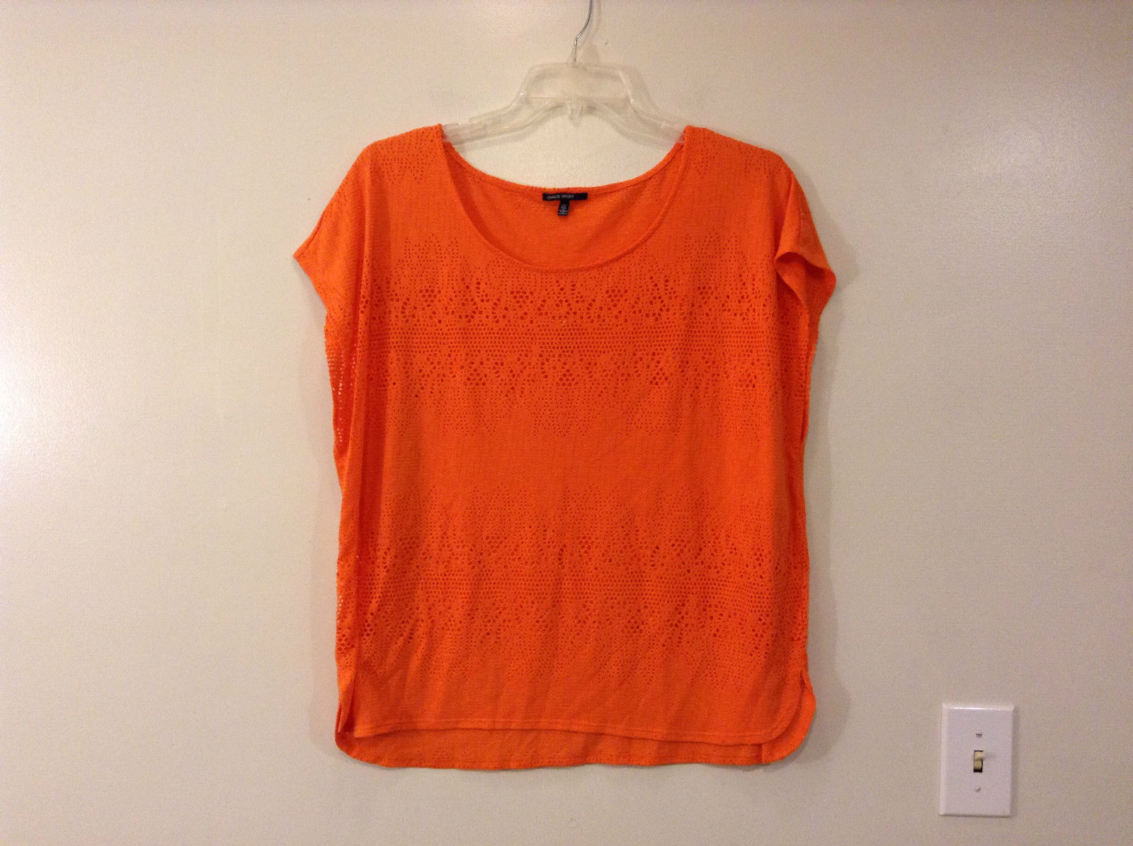 Orange Sleeveless Chaus Sport Top Cutout Fabric Boat Neck Size  XXL