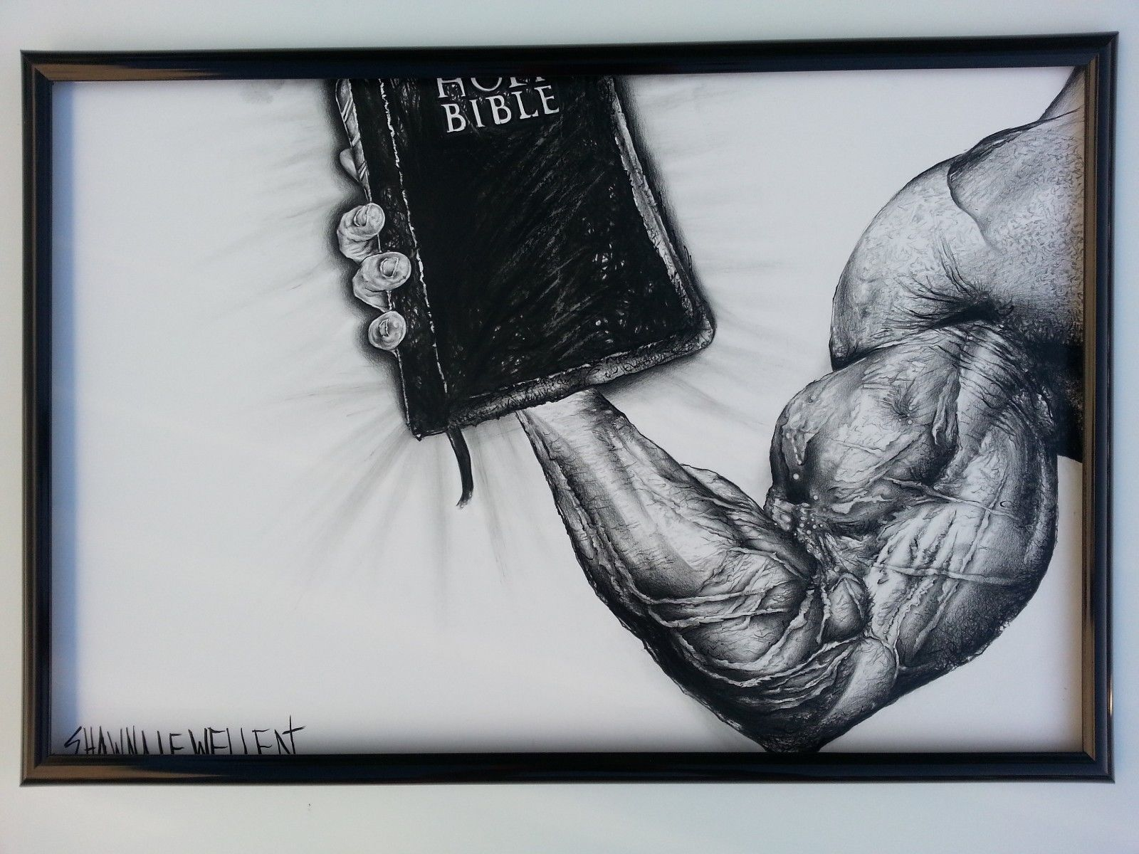 Original Signed Ink Charcoal Shawna Lewellen Weightlifter holding Bible 20 x 30