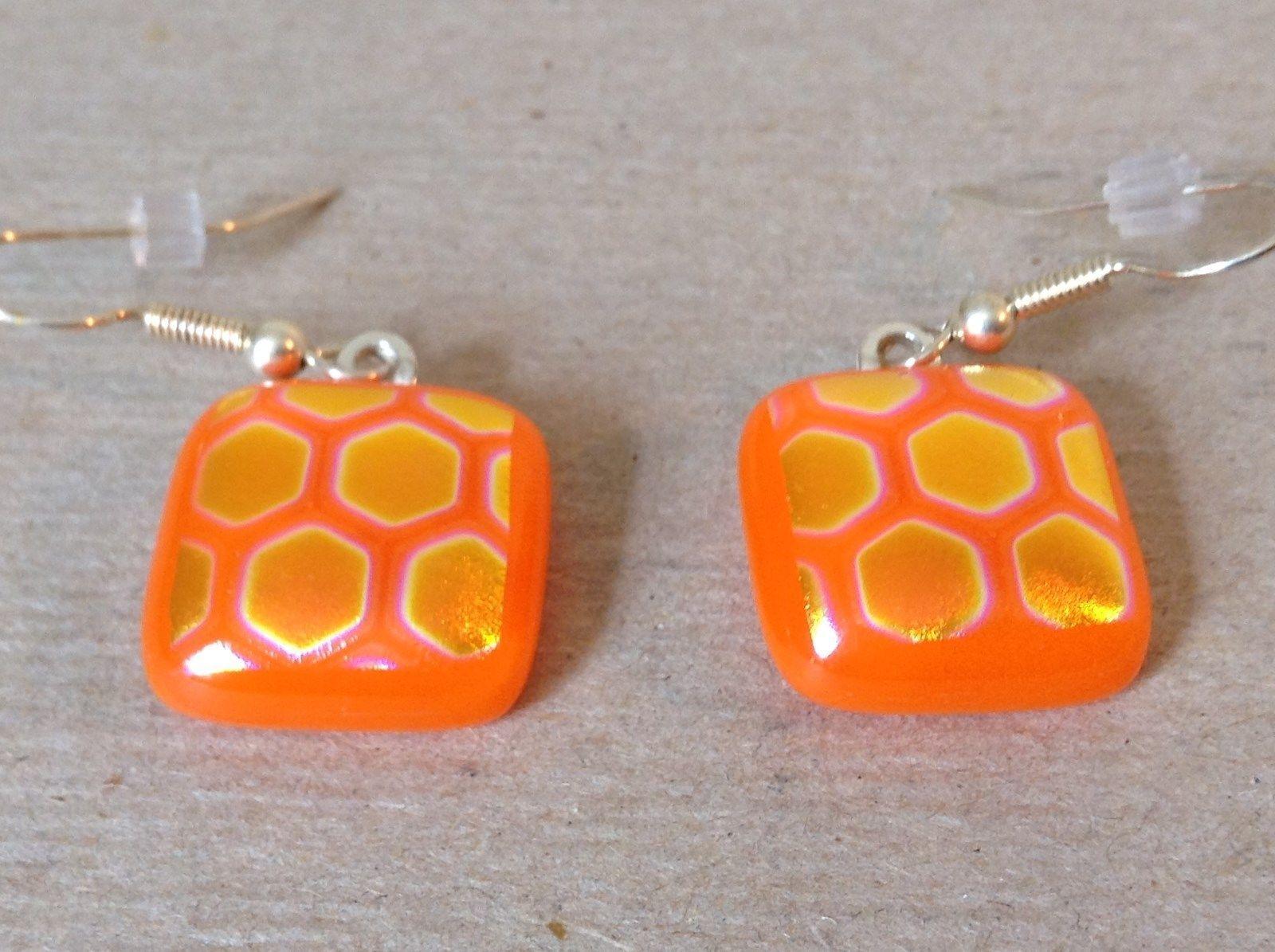 Orange Gold Tone Enamel Hexagon Pattern Squared Shaped Glass Dangling Earrings