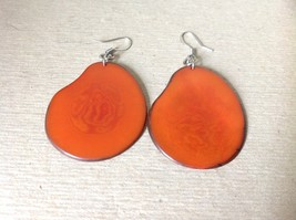 Orange Red Flat Tagua Earrings Dyes Handmade Black Outline Dangling