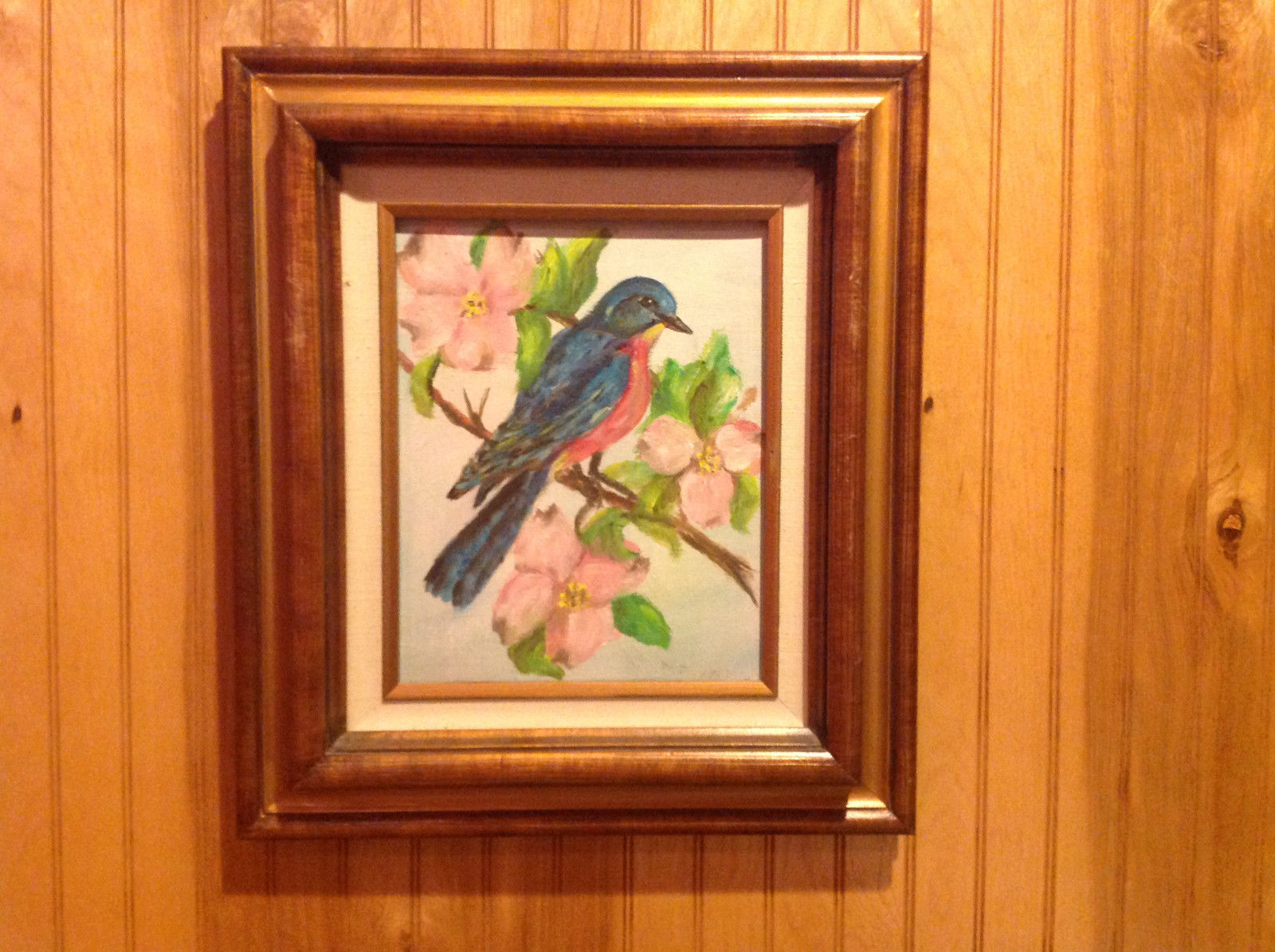 Original Painting Blue Bird on a Branch Beautiful Wooden Frame
