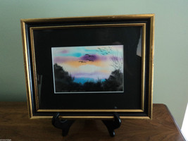 Original Water Color Painting Hudson Valley Bird Sunset by Vivian Gaines Tanner