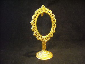 Ornate Small Oval Frame Gold Color on Stand