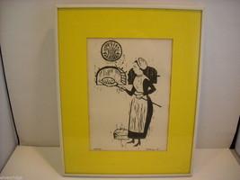 Original Wood Block Print of a Baker Artist Constantine Kermes 1965