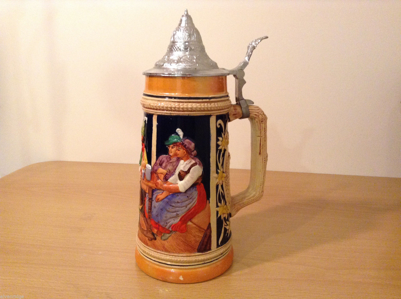 "Ornamental Vintage Collectible Beer Mug Stein ""Hunters rest"" with lid,  Europe"