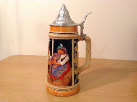 "Ornamental Vintage Collectible Beer Mug Stein ""Hunters rest"" with lid,  Europe image 1"