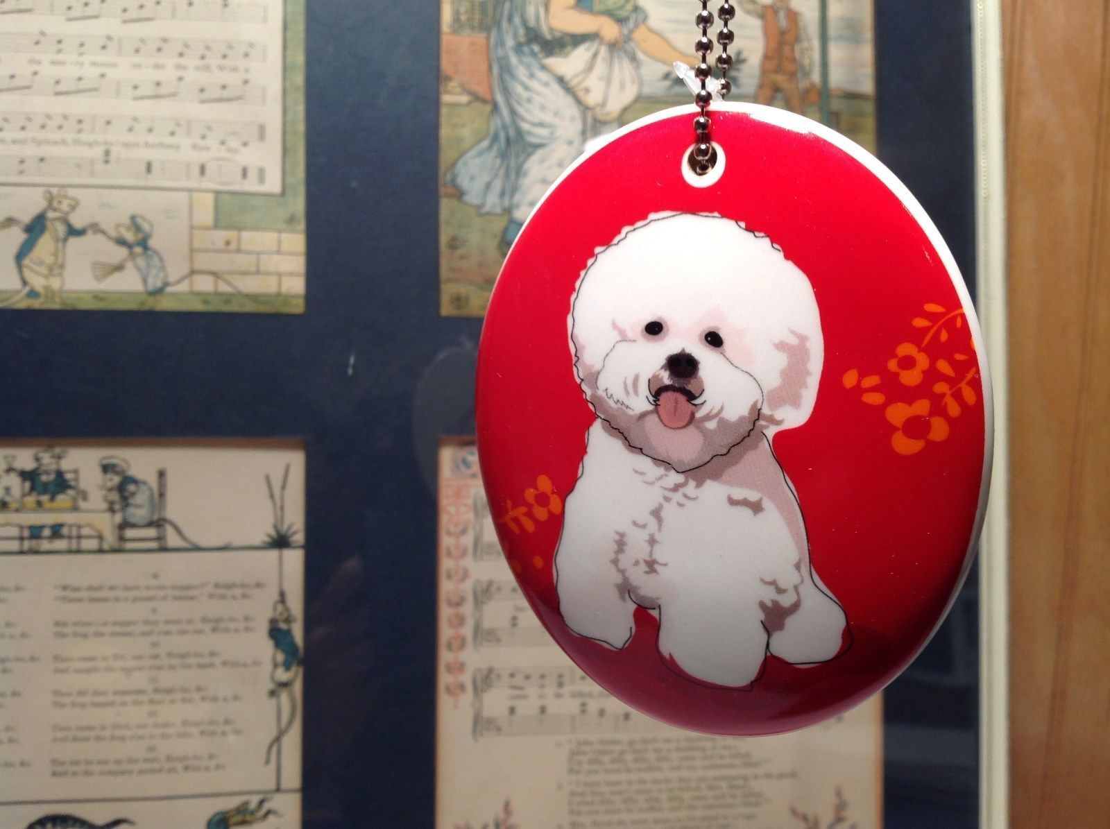 Oval Ceramic Bichon Dog Red Background Ornament w Metal Chain Department 56