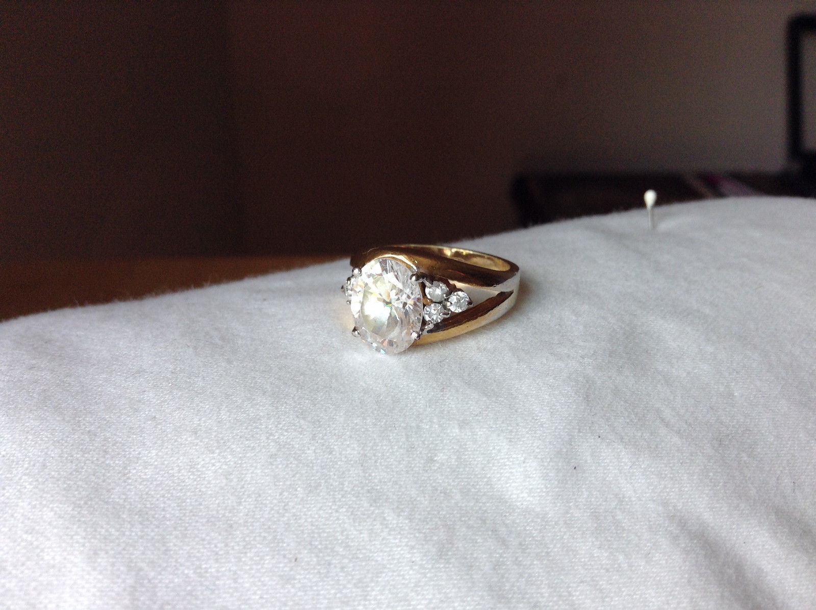 Oval CZ Stone Gold Plated Ring Size 6