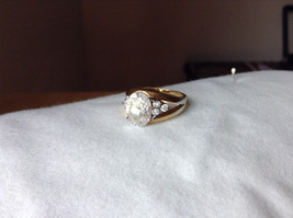 Oval CZ Stone Gold Plated Ring Size 6 image 1
