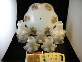 Overhead Lamp Shade w Butterflies Frosted Glass - $39.59