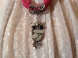Owl Silver Tone Two Black Crystal Eyes White Stones on Body Scarf Pendant