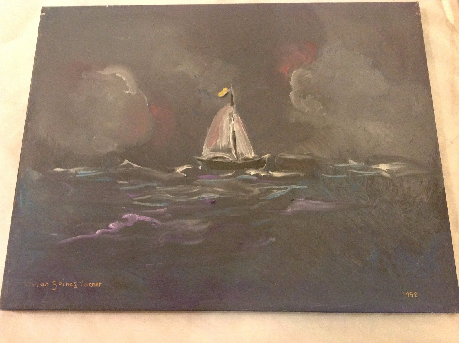 Painting Original Dutch Sloop Sailboat Vivian Gaines Tanner Hudson Valley Artist