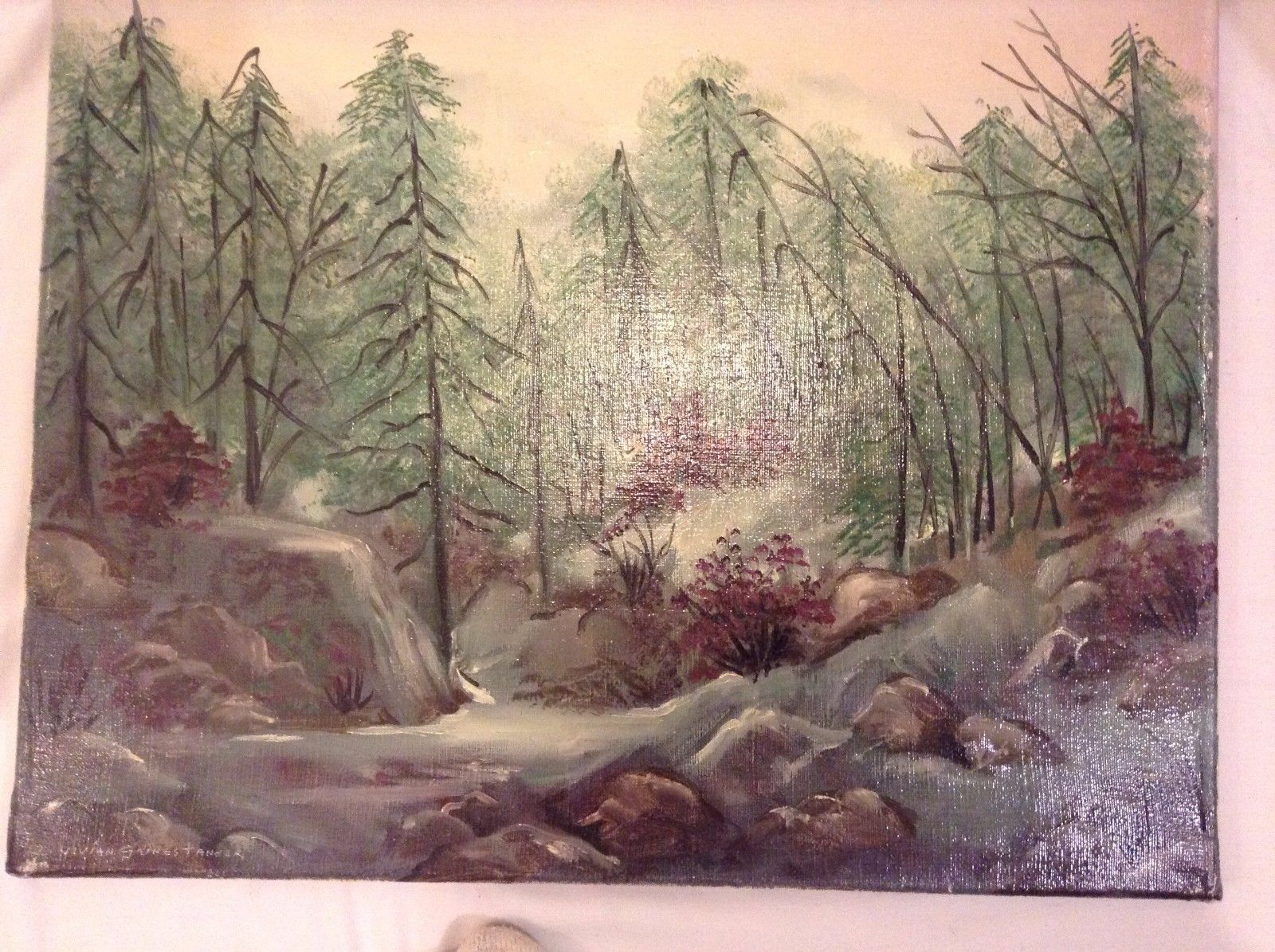 Painting Original Foggy Waterfall Vivian Gaines Tanner Hudson Valley Artist