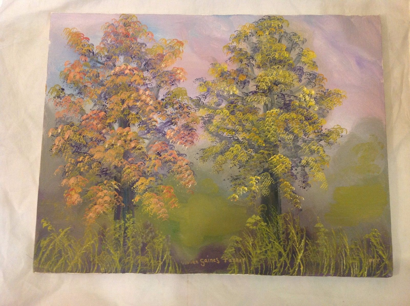 Painting Original A Tree Duet Vivian Gaines Tanner Hudson Valley Artist