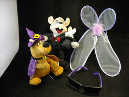 Pair Of Dressed Up Stuffed Animals And Dress Up Costume Accessories - $34.64