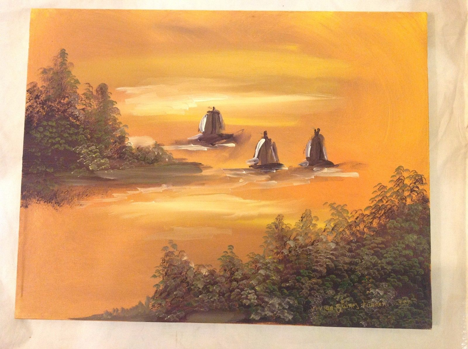 Painting Original Sailboats on Hudson Vivian Gaines Tanner Hudson Valley Artist