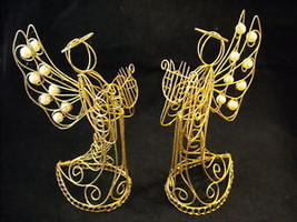 Pair of Angel Figures w harps Christmas Decorations